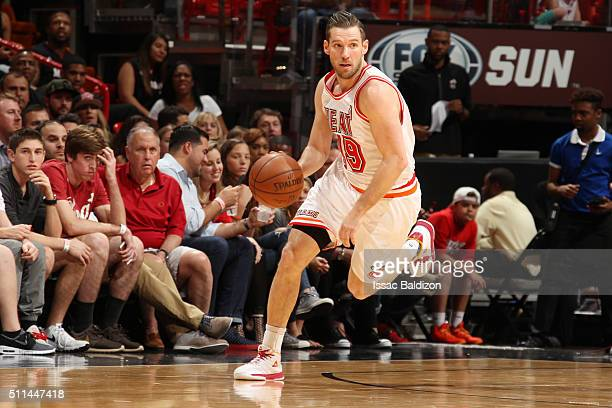 Beno Udrih of the Miami Heat handles the ball against the Washington Wizards on February 20 2016 at American Airlines Arena in Miami Florida NOTE TO...