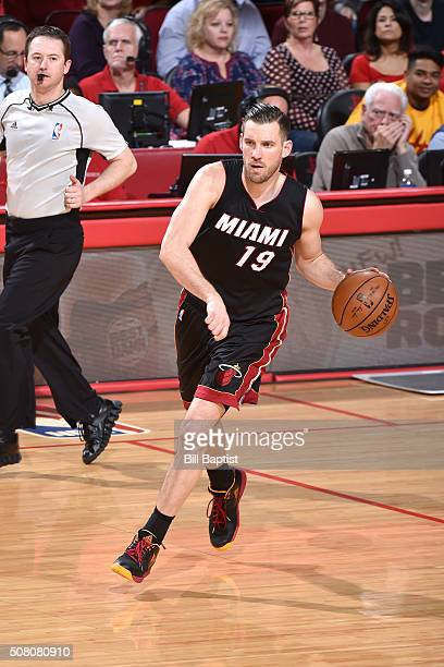 Beno Udrih of the Miami Heat handles the ball during the game against the Houston Rockets on February 2 2016 at the Toyota Center in Houston Texas...
