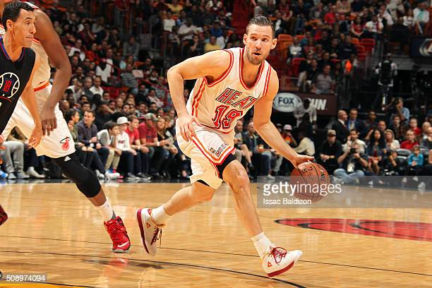 Beno Udrih of the Miami Heat handles the ball during the game against the Los Angeles Clippers on February 7 2016 at AmericanAirlines Arena in Miami...