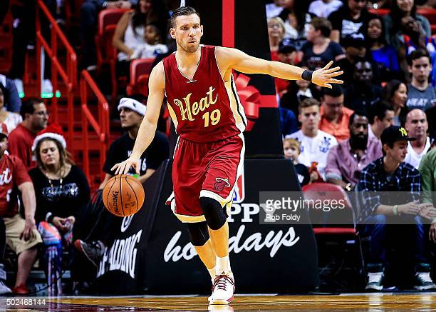 Beno Udrih of the Miami Heat in action during the game against the New Orleans Pelicans at American Airlines Arena on December 25 2015 in Miami...