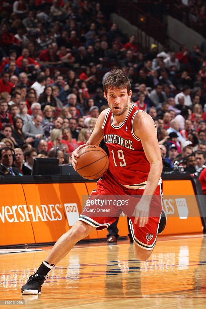 <a gi-track='captionPersonalityLinkClicked' href=/galleries/search?phrase=Beno+Udrih&family=editorial&specificpeople=202616 ng-click='$event.stopPropagation()'>Beno Udrih</a> #19 of the Milwaukee Bucks drives to the basket against the Chicago Bulls on January 9, 2013 at the United Center in Chicago, Illinois.