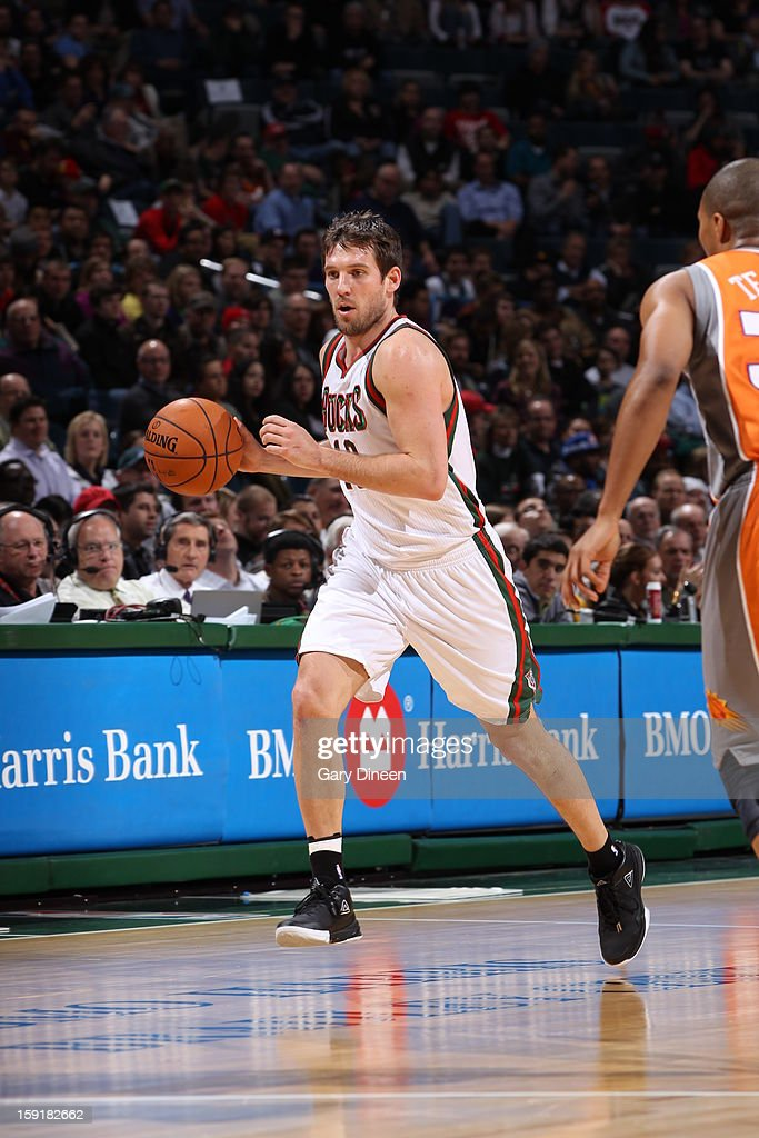 Beno Udrih #19 of the Milwaukee Bucks handles the ball against the Phoenix Suns on January 8, 2013 at the BMO Harris Bradley Center in Milwaukee, Wisconsin.