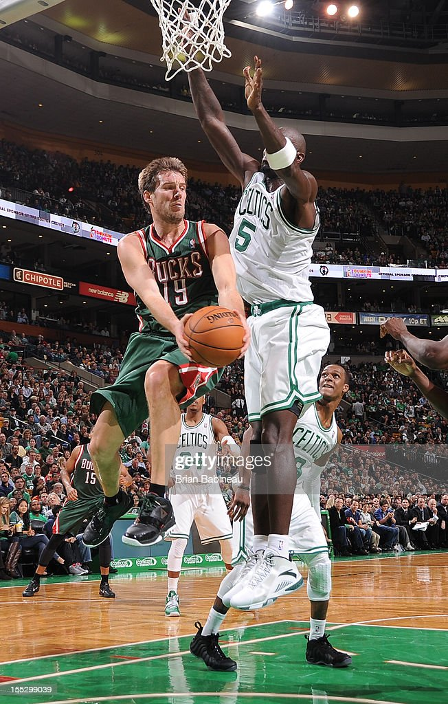 Beno Udrih #19 of the Milwaukee Bucks makes a move against Kevin Garnett #5 of the Boston Celtics on November 2, 2012 at the TD Garden in Boston, Massachusetts.