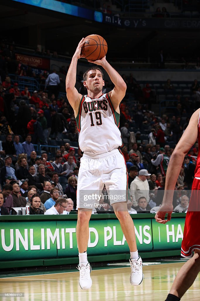<a gi-track='captionPersonalityLinkClicked' href=/galleries/search?phrase=Beno+Udrih&family=editorial&specificpeople=202616 ng-click='$event.stopPropagation()'>Beno Udrih</a> #19 of the Milwaukee Bucks takes a shot against the Chicago Bulls on January 30, 2013 at the BMO Harris Bradley Center in Milwaukee, Wisconsin.
