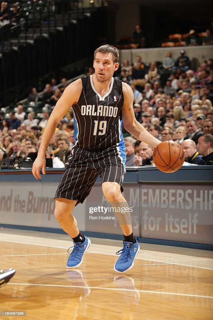Beno Udrih #19 of the Orlando Magic attempts to pass the ball against the Indiana Pacers Orlando Magic on March 19, 2013 at Bankers Life Fieldhouse in Indianapolis, Indiana.