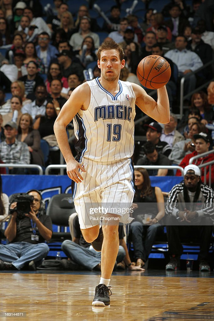 Beno Udrih #19 of the Orlando Magic brings the ball up court against the Houston Rockets on March 1, 2013 at Amway Center in Orlando, Florida.