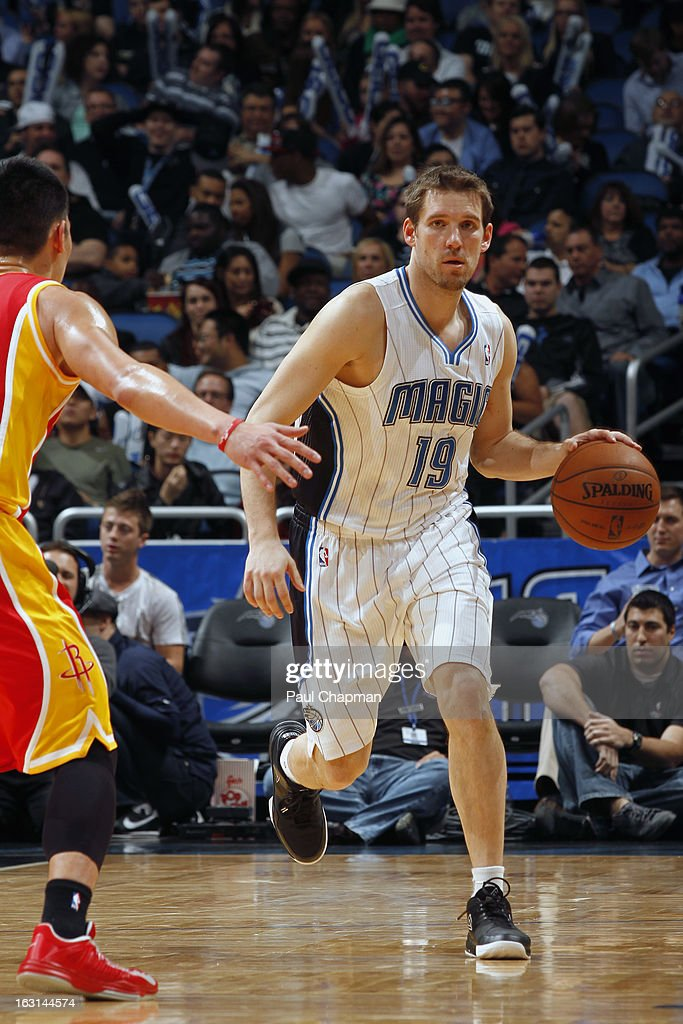 <a gi-track='captionPersonalityLinkClicked' href=/galleries/search?phrase=Beno+Udrih&family=editorial&specificpeople=202616 ng-click='$event.stopPropagation()'>Beno Udrih</a> #19 of the Orlando Magic brings the ball up court against the Houston Rockets on March 1, 2013 at Amway Center in Orlando, Florida.