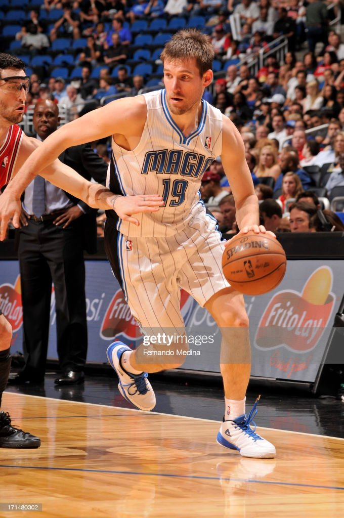 <a gi-track='captionPersonalityLinkClicked' href=/galleries/search?phrase=Beno+Udrih&family=editorial&specificpeople=202616 ng-click='$event.stopPropagation()'>Beno Udrih</a> #19 of the Orlando Magic dribbles the ball against the Chicago Bulls during a game on April 15, 2013 at Amway Center in Orlando, Florida.