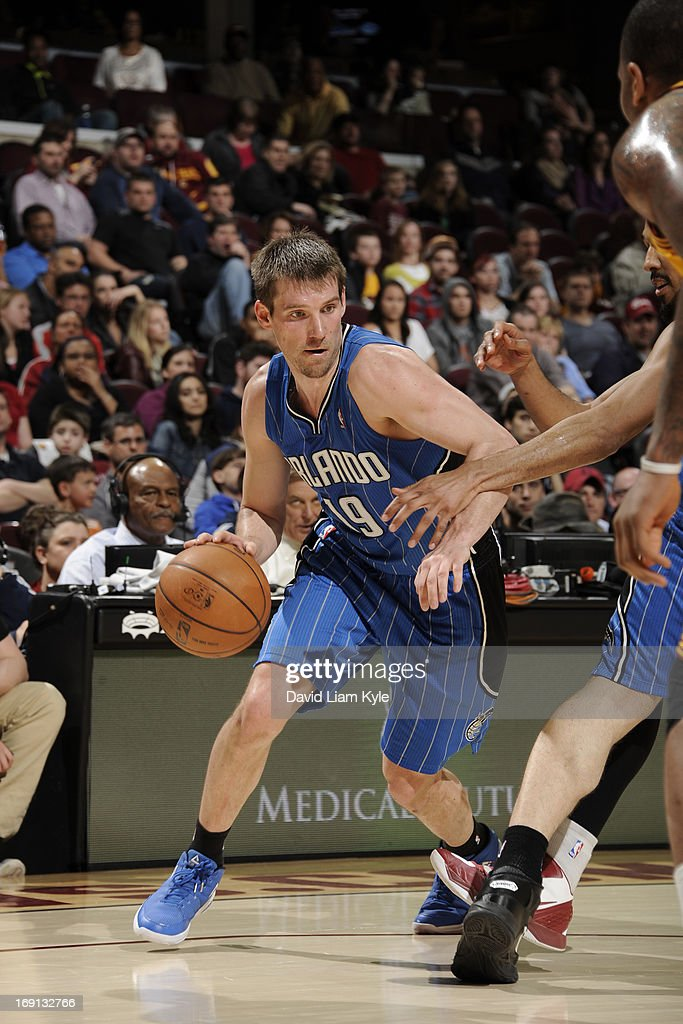 Beno Udrih #19 of the Orlando Magic drives against the Cleveland Cavaliers at The Quicken Loans Arena on April 7, 2013 in Cleveland, Ohio.