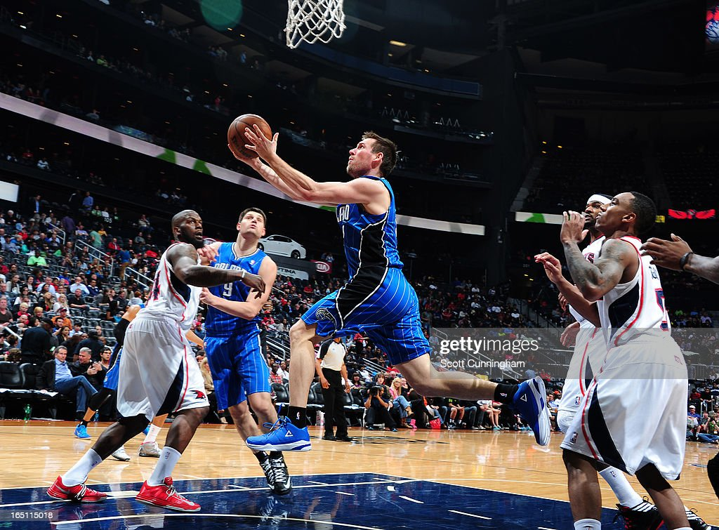 Beno Udrih #19 of the Orlando Magic glides to the basket against the Atlanta Hawks on March 30, 2013 at Philips Arena in Atlanta, Georgia.
