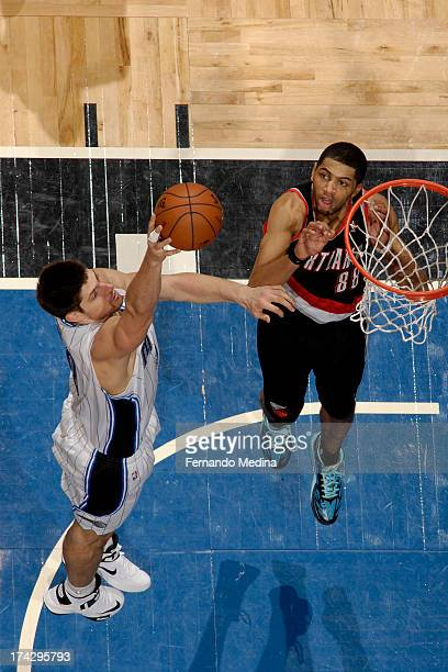 Beno Udrih of the Orlando Magic puts up the shot against the Portland Trail Blazers during the game on February 10 2013 at Amway Center in Orlando...