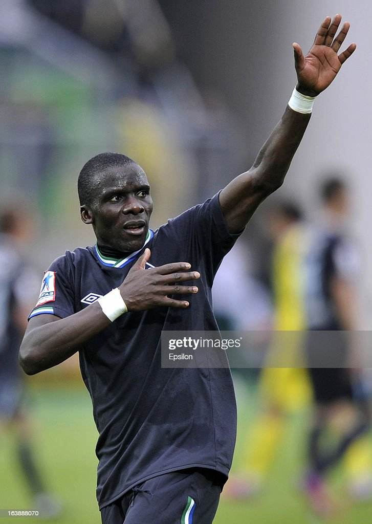 Benoit Angbwa of FC Krylia Sovetov Samara reacts during the Russian Premier League match between FC Anzhi Makhachkala and FC Krylia Sovetov Samara at the Anzhi Arena Stadium on March 17, 2013 in Kaspiysk, Russia.