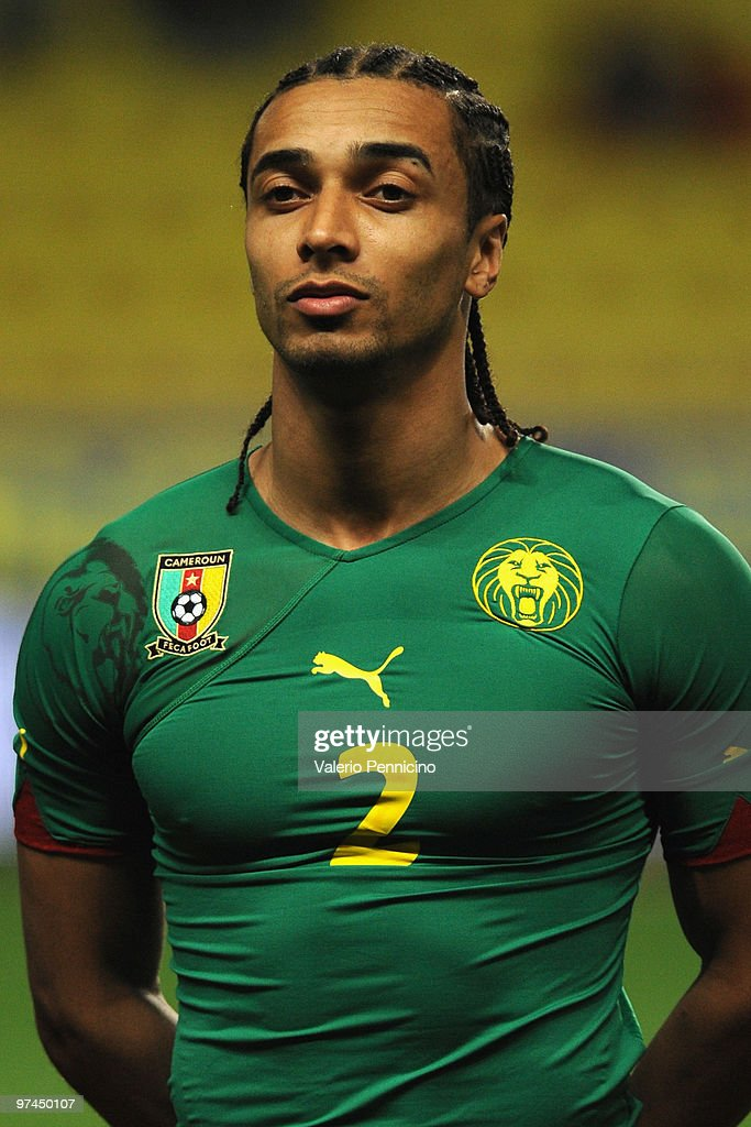 Benoit Assou Ekotto of Cameroon looks on prior to the International Friendly match between Italy and Cameroon at Louis II Stadium on March 3, 2010 in Monaco, Monaco.