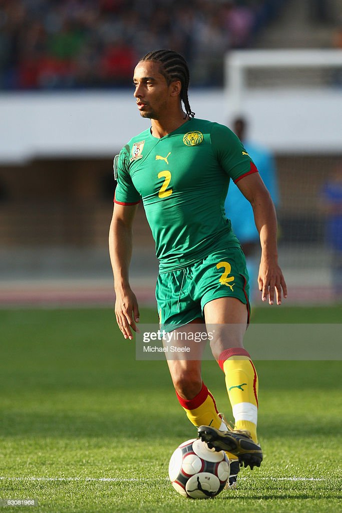 <a gi-track='captionPersonalityLinkClicked' href=/galleries/search?phrase=Benoit+Assou-Ekotto&family=editorial&specificpeople=709848 ng-click='$event.stopPropagation()'>Benoit Assou-Ekotto</a> of Cameroon during the Morocco v Cameroon FIFA2010 World Cup Group A qualifying match at the Complexe Sportif on November 14, 2009 in Fes, Morocco.