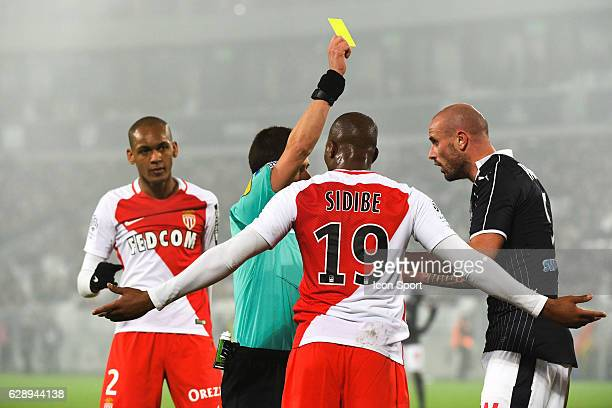 Benoit BASTIEN referee and Nicolas Pallois of Bordeaux during the French Ligue 1 match between Bordeaux and Monaco at Nouveau Stade de Bordeaux on...