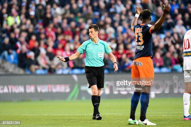 Benoit Bastien Referee during the French Ligue 1 match between Montpellier and Lille at Stade de la Mosson on April 29 2017 in Montpellier France