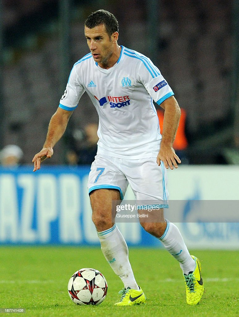<a gi-track='captionPersonalityLinkClicked' href=/galleries/search?phrase=Benoit+Cheyrou&family=editorial&specificpeople=648473 ng-click='$event.stopPropagation()'>Benoit Cheyrou</a> of Olympique de Marseille in action during the UEFA Champions League Group F match between SSC Napoli and Olympique de Marseille at Stadio San Paolo on November 6, 2013 in Naples, Italy.