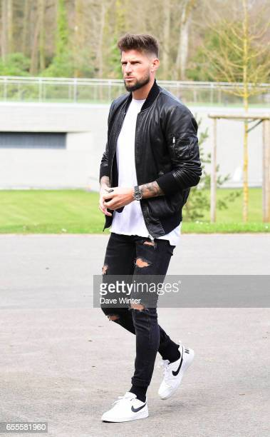 Benoit Costil and Corentin Tolisso of France arriving at Centre National du Football on March 20 2017 in Clairefontaine France