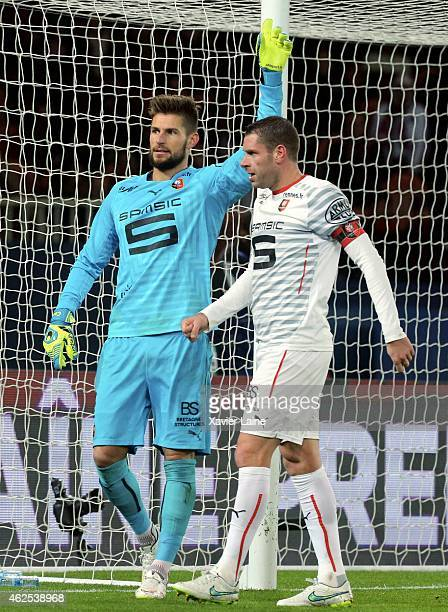 Benoit Costil and Sylvain Armand of Stade Rennais FC during the French Ligue 1 between Paris SaintGermain FC and Stade Rennais FC at Parc Des Princes...