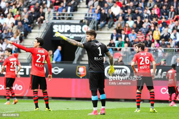 Benoit Costil of Rennes and Benjamin Andre of Rennes during the French Ligue 1 match between Rennes and Lyon at Roazhon Park on April 2 2017 in...