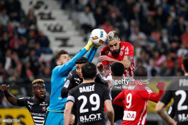 Benoit Costil of Rennes and Erick Cabaco Almada of Nancy during the Ligue 1 match between As Nancy Lorraine and Stade Rennais at Stade Marcel Picot...
