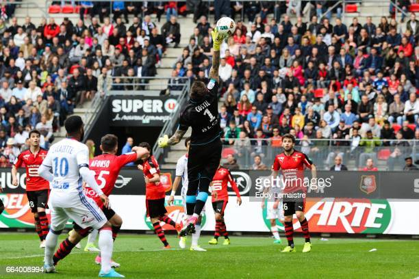 Benoit Costil of Rennes during the French Ligue 1 match between Rennes and Lyon at Roazhon Park on April 2 2017 in Rennes France