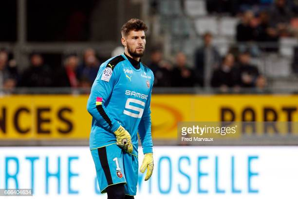 Benoit Costil of Rennes during the Ligue 1 match between As Nancy Lorraine and Stade Rennais at Stade Marcel Picot on April 8 2017 in Nancy France