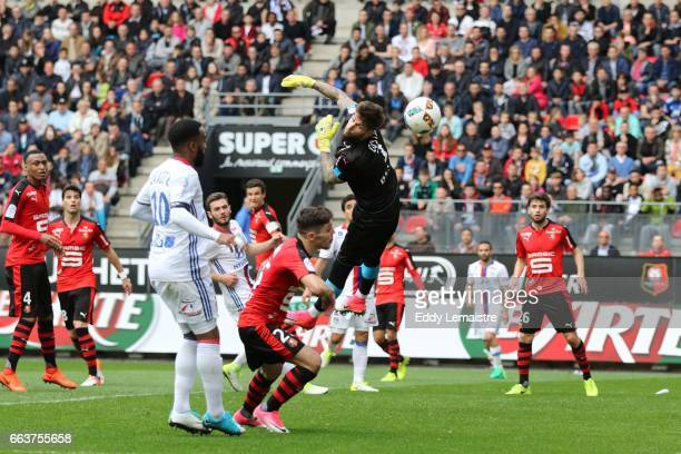 Benoit Costil of Rennes stops a goal during the French Ligue 1 match between Rennes and Lyon at Roazhon Park on April 2 2017 in Rennes France