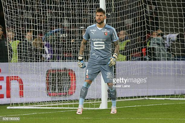 Benoit Costil of Stade Rennais during the French Ligue 1 match between Paris SaintGermain and Stade Rennais at Parc des Princes on April 29 2016 in...