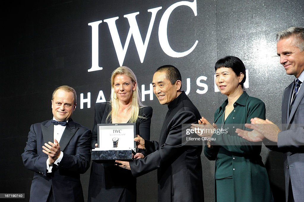 Benoit De Clerck, IWC Managing Director Asia Pacific, Karoline Huber, IWC Director of Marketing & Communications, Chinese film director <a gi-track='captionPersonalityLinkClicked' href=/galleries/search?phrase=Zhang+Yimou&family=editorial&specificpeople=211304 ng-click='$event.stopPropagation()'>Zhang Yimou</a>, Zhang Xun, President China Flim Corproduction Corp and Mike Ellis, President Asia Pacific MPA pose at the exclusive 'For the Love of Cinema' event hosted by Swiss watch manufacturer IWC Schaffhausen in the role as new sponsor of the Beijing International Film Festival, at the Ming Dynasty City Wall on April 22, 2013 in Beijing, China.