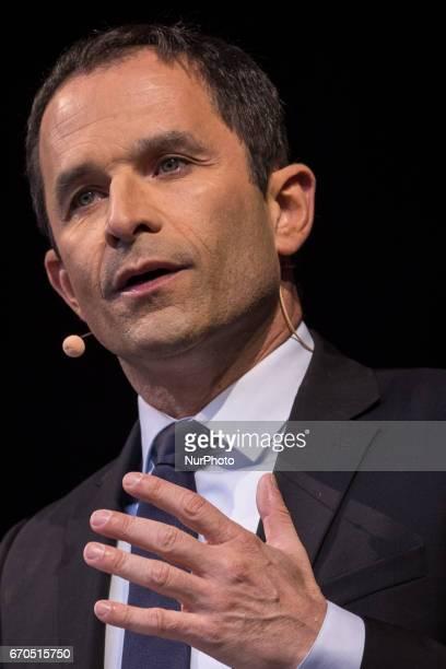 Benoit Hamon attends French Socialist Party Presidential candidate Benoit Hamon political meeting Place de la Republique on April 19 2017 in Paris...