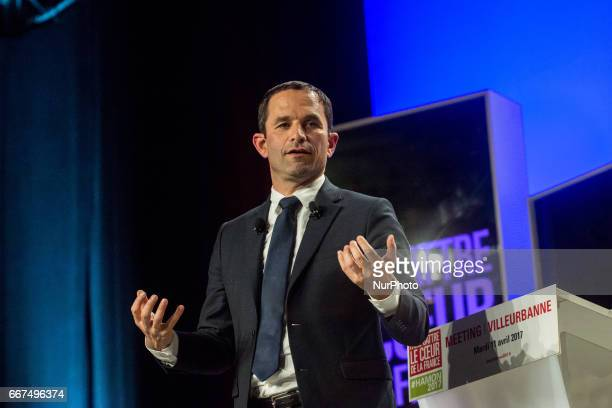 Benoit Hamon candidate in the presidential election of the Socialist Party in meeting on April 11 in Lyon France
