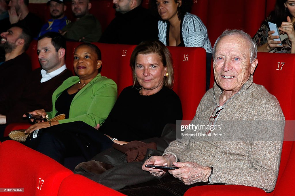 Benoit Hamon, Christiane Taubira, Sophie Seydoux and Jerome Seydoux attend the 'La Vache' Premiere at Pathe Wepler on February 14, 2016 in Paris, France.