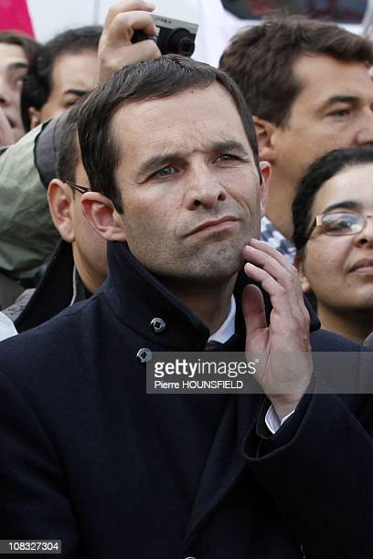 Benoit Hamon during the rally against pension reform in Paris France on October 19th 2010