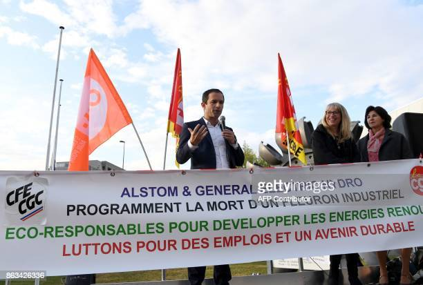 Benoit Hamon 'First of July movement' left wing movement leader and former socialist presidential candidate speaks with employees of General Electric...