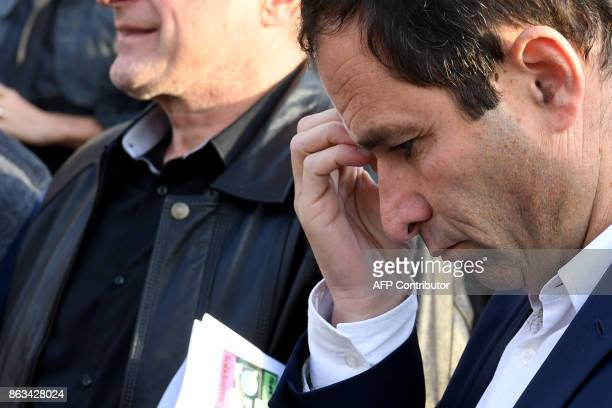Benoit Hamon 'First of July movement' left wing movement leader and former socialist presidential candidate reacts during a meeting with employees of...