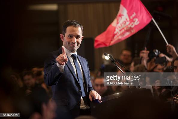 Benoit Hamon the winner of the second tour of the left primary party for the presidential election 2017 op january 29 in Paris France