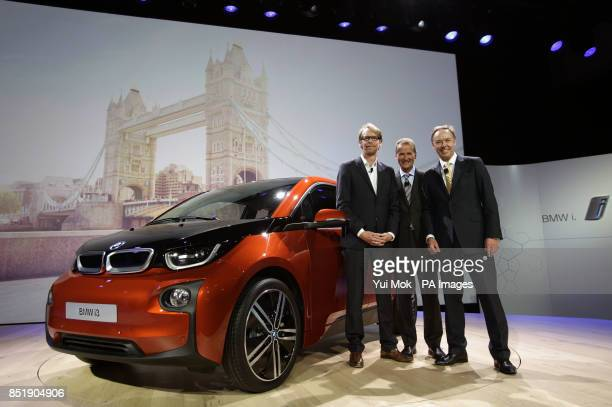 Benoit Jacob Head of Design BMW Dr Herbert Deiss BMW Board member responsible for RD and Ian Robertson Global Head of Sales Marketing BMW during the...