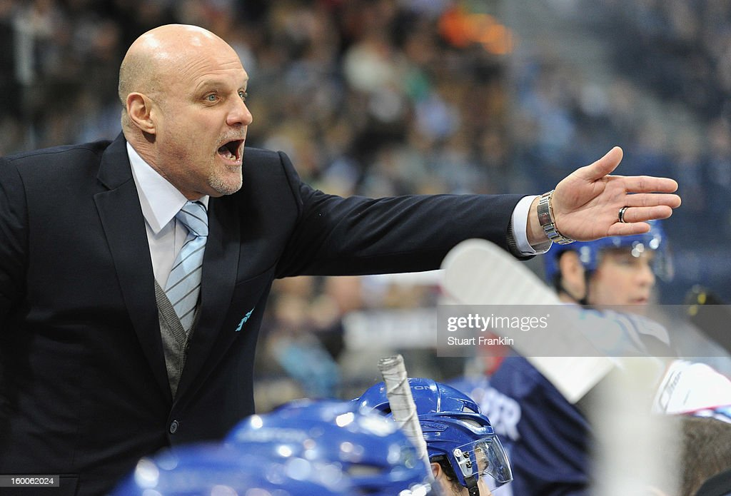 Benoit Laporte, head coach of Hamburg gestures during the DEL game between Hamburg Freezers and Thomas Sabo Ice Tigers at O2 World on January 25, 2013 in Hamburg, Germany.