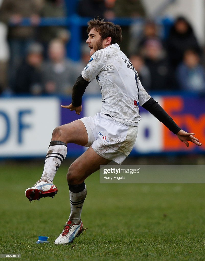 Benoit Paillaugue of Montpellier kicks a penalty during the Heineken Cup match between Cardiff Blues and Montpellier at Cardiff Arms Park on December 9, 2012 in Cardiff, Wales.