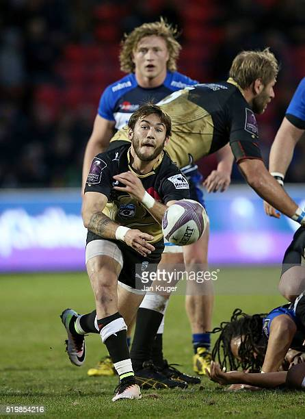 Benoit Paillaugue of Montpellier spins the ball out during the European Rugby Challenge Cup Quarter Final match between Sale Sharks and Montpellier...