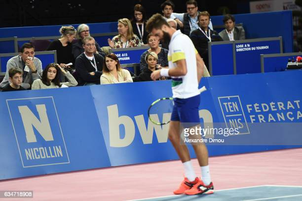 Benoit Paire and His Girlfriend Shym during Open Sud de France on February 12 2017 in Montpellier France