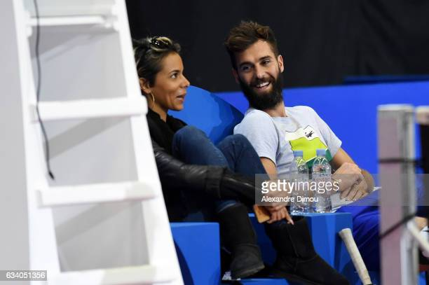 Benoit Paire and his girlfriend Shy'm during training session of the Open Sud de France on February 6 2017 in Montpellier France