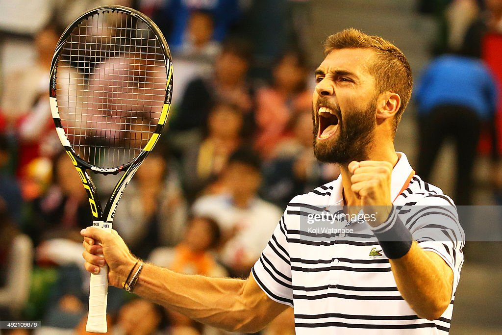 <a gi-track='captionPersonalityLinkClicked' href=/galleries/search?phrase=Benoit+Paire&family=editorial&specificpeople=6999938 ng-click='$event.stopPropagation()'>Benoit Paire</a> of France celebrates after winning the men's singles semi final match against Kei Nishikori of Japan on Day Six of the Rakuten Open 2015 at Ariake Colosseum on October 10, 2015 in Tokyo, Japan.