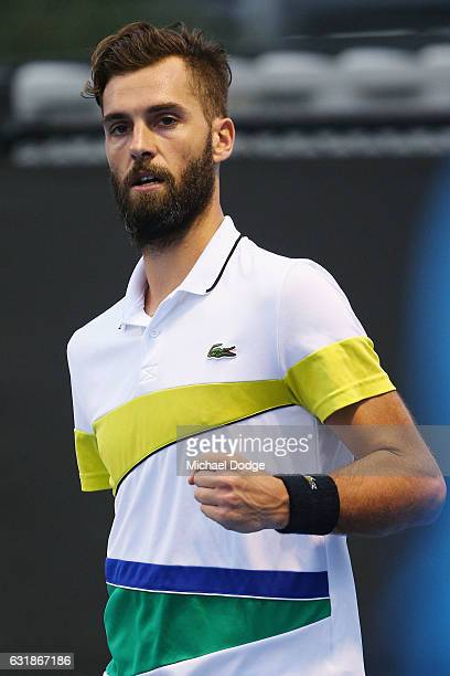 Benoit Paire of France celebrates taking the second set in his first round match against Tommy Haas of Germany on day two of the 2017 Australian Open...