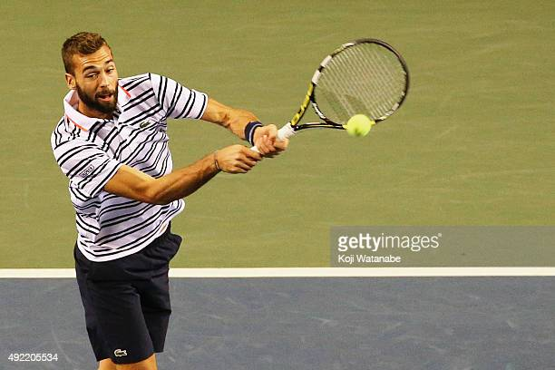 Benoit Paire of France competes against Stan Wawrinka of Switzerland during the men's singles final match on Day Seven of the Rakuten Open 2015 at...