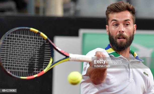 Benoit Paire of France hits a return to Stanislas Wawrinka of Switzerland during their match at the ATP Tennis Open tournament on May 17 2017 at the...