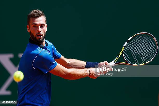 Benoit Paire of France in action against Denis Kudla of USA during day two of the Monte Carlo Rolex Masters tennis at the MonteCarlo Sporting Club on...