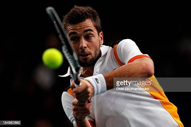 Benoit Paire of France in action against Pablo Andujar of Spain during day 1 of the BNP Paribas Masters at Palais Omnisports de Bercy on October 29...
