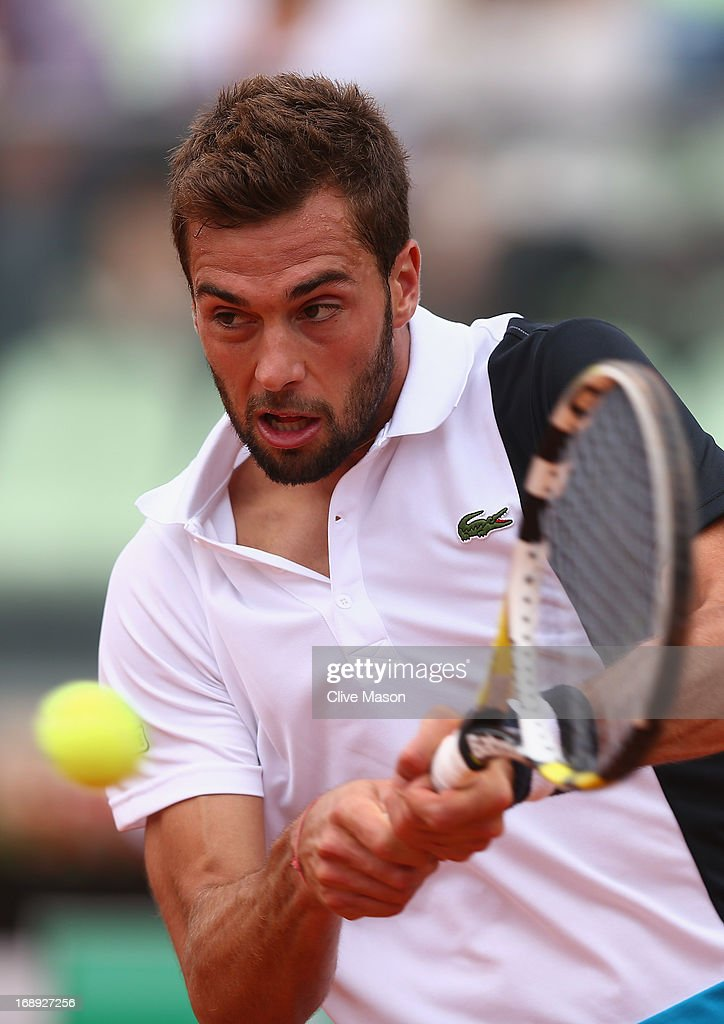 <a gi-track='captionPersonalityLinkClicked' href=/galleries/search?phrase=Benoit+Paire&family=editorial&specificpeople=6999938 ng-click='$event.stopPropagation()'>Benoit Paire</a> of France in action during his quarter final match against Marcel Granollers of Spain on day six of the Internazionali BNL d'Italia 2013 at the Foro Italico Tennis Centre on May 17, 2013 in Rome, Italy.